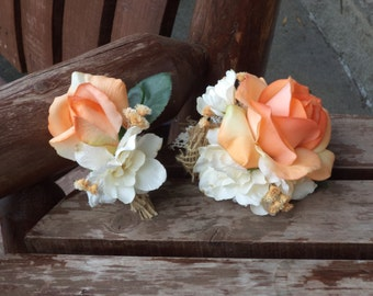 Peach Garden Rose Boutonniere real touch rose boutonnière cream real touch rose