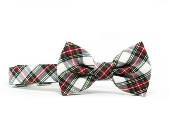 Winter Tartan Dog Bow Tie Collar Christmas Dog Bowtie Collar Red Green Holiday Plaid Dog Collar Bow Tie