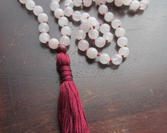 Rose Quartz Mala Beads, 108 Bead Mala, Tassel Necklace, Prayer Beads, Yoga Mala, Japa Mala, Pink Mala, Gemstone Mala, Mala Necklace