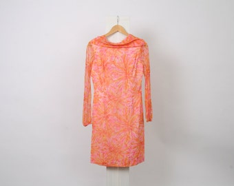 60s VINTAGE Floral Womens AU 12 US 8 Long Sleeve Cowl Neck Pink Shift Mini Orange Flower Summer Lined Dress