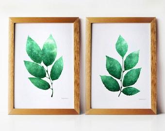 Deep Green Leaves, Kitchen art Set of 2 PRINTABLE 5x7 art prints, Plant prints Botanical art prints, Kitchen artwork, Emerald green wall art