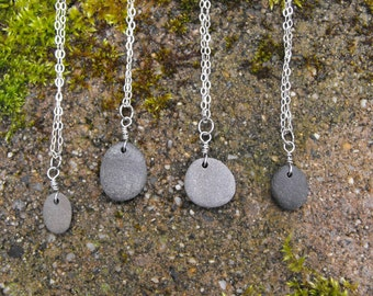 Beach Stone Necklace Sterling Silver Beach Rock Necklace