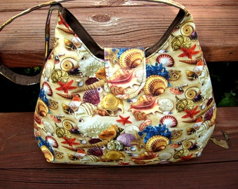HOBO BAG PURSE, Sea Shells, Beach Bag, Shoulder Bags, Women's Handbags / Purses, Made To Order