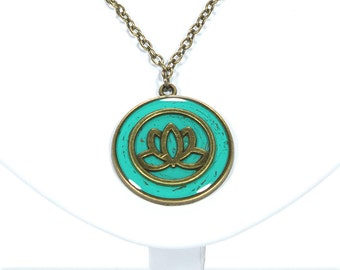 Lotus flower necklace / spiritual jewelry / lotus jewelry / flower necklace / teal jewelry / lotus / for her womens jewelry
