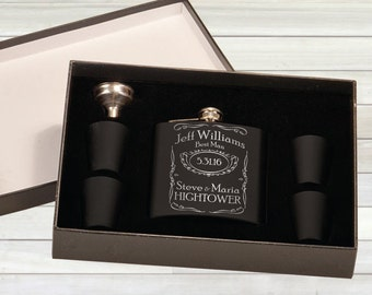 Groomsmend Flask - Wedding Flasks - Custom Groomsmen Glask & Shot Glass Set - Wedding Gift - Personalized Flask
