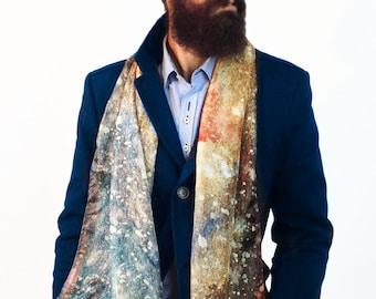 Men's silk scarf, man hipster scarf, men fashion accessory, silk scarf for men, printed silk scarf, elegant man, no tie, silk scarf men.