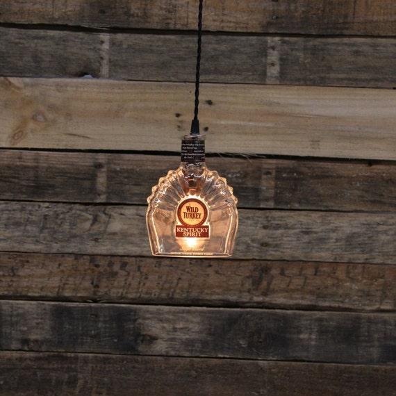 Wild Turkey Kentucky Spirit Bottle Pendant Light - Upcycled Industrial Glass Ceiling Light - Handmade Bourbon Bottle Light Fixture, Recycled