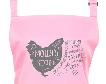 Personalized Country Kitchen Apron with Pocket and Your Name, Choose form16 Colours, Chicken, Farmhouse, Custom, Womens, - 1032