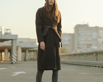 Gray coat, woman wool coat, winter coat, autumn coat