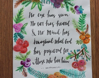 1 Corinthians 2:9 Original Watercolor Calligraphy Print
