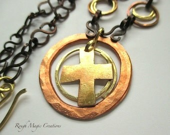 Cross Pendant Christian Necklace. Mixed Metal Rustic Antique Copper Hammered Brass. Inspirational Gift Religious Jewelry Unisex Women Men