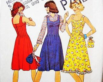 1970s Dress Pattern Misses size 10 UNCUT Sweetheart Neckline Sundress or Jumper Dress Pattern with Drawstring Purse Vintage Sewing Pattern