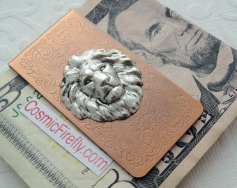 Fancy Lion Money Clip Copper Money Clip Lion Head Steampunk Money Clip Victorian Money Clip Men's Gifts For Leos Gifts For Men Father's Day
