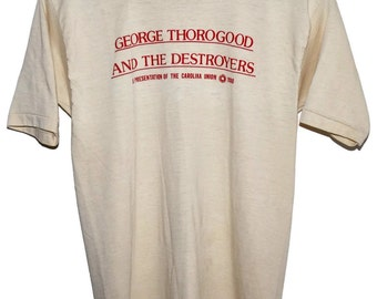 Vintage 80s 1980 GEORGE THOROGOOD and the Destroyers Rock Concert Tour T SHIRT Small S