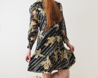 Parrot tulip tattoo, Japanese vintage mini dress, small