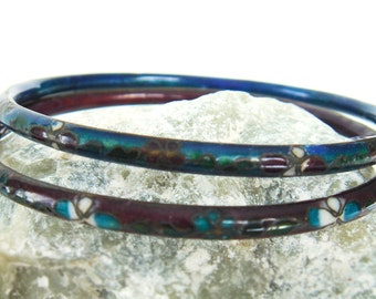 Vintage Metal Enameled Bangles Floral Cloisonne Bracelets - Set of 2 - Brown and Blue