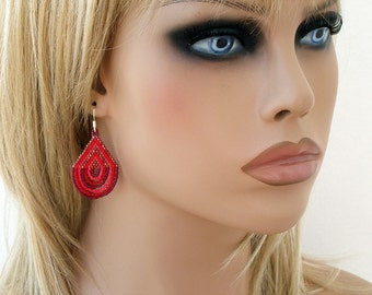 Peyote Earrings, Red  Watermelon Womens Beaded Earring, Charming Peyote Earrings, Seed Bead Earrings, Beaded Jewelry Elegant Earrings