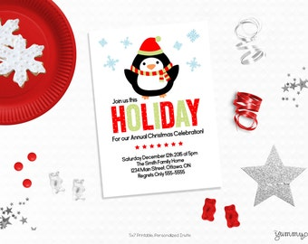 Personalized Printable Holiday Penguin Invitation - Personalized Printable Invite for Birthdays or Holiday Themed Parties