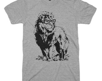 Sale / Lion Professor T Shirt Funny Animal Glasses Tshirt Book Reading Gifts For Mens Tshirts Womens Tees Geek Gifts Humor Pun Funny Tees