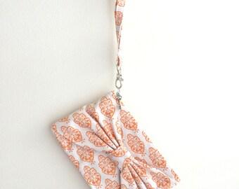 Bow Clutch, Orange Ikat Linen *SALE*