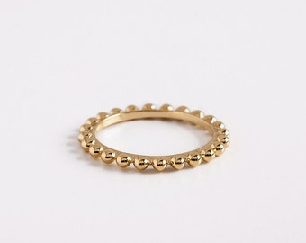 Dainty Ball Beaded Ring, 18k Gold Balls Rings, Stacking Ring, 14k Yellow Gold Beaded Ring, Minimal Gold Ring Women, Eternity Wedding Ring