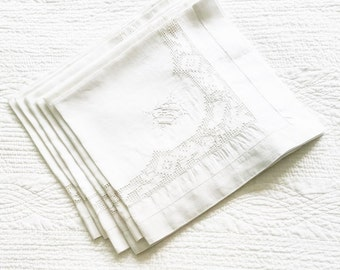 Vintage Romantic Home Heirloom White Monogrammed Table Napkins with Ornate Cutwork Detailing, Set of Six, Olives and Doves