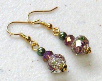 Romantic Drop Earrings with Flowered Lampwork Beads, Lilac & Green Earrings, Nickle-Free Gold Finish Ear Wires, Handmade in the USA