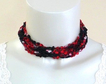 Red and Black Ladder Yarn Necklace: Crocheted Ladder Ribbon Necklace, Handmade Fiber Jewelry, Vegan Jewelry, Gifts for Her, Ready to Ship