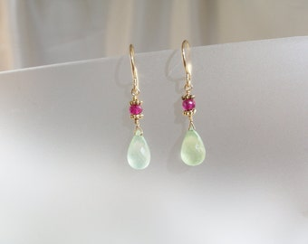 Prehnite briolette  ruby earrings 1 1/4 inch 14k gold filled with vermeil ornaments MLMR item 607