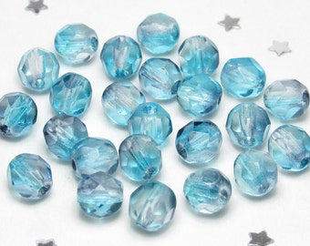 6mm Two-Tone Dove Gray and Light Blue Czech Glass Fire Polish Faceted Round Beads - 25 beads - Water Blue, Cool Blue