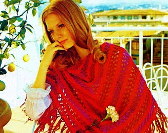 Lace Shawl Vintage Knitting Pattern Instant Download
