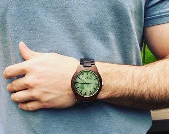 Mens All Ebony Wood Watch With Custom Engraving, Wooden Watch for Him, Gift for Him, Mens Wood Watch, Personalized Wood Watch, Wooden Watch