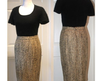 Vintage VALENTINO 80's Pencil Skirt Neutral Colors Textured Tweed Fabric Excellent Condition Women's Size 10-12