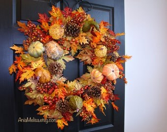 fall wreath 30'' fall wreaths Thanksgiving front door wreaths autumn wreaths fall outdoor wreaths, gift ideas
