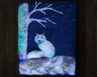 Needle Felted Wool Painting, Tapestry, Felt Painting, Fiber Art Wall Hanging, Textile Art,  Arctic Fox, Winter, Night, Waldorf, Whimsical