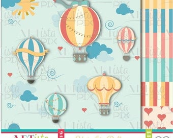 Hot Air Balloons Clipart, Balloons Clipart, Hot Air Ballons Digital Images, Sky, Fly Clipart