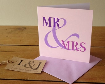Wedding card - Mr & Mrs - him and her card - shabby chic wedding - wedding day - bride and groom - vintage wedding - sister