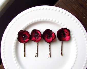 "4 Burgundy Wine Bridesmaid Hair Accessories, Black & Red Wedding Floral Hair pins, 1"" Tiny Flowers for Hair, Mini Silk Lace Fabric Bobby"
