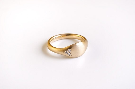 Diamonds gold pinky ring solid 18k yellow gold by BermanDesigners