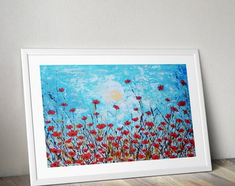 Poppy flower art prints horizontal - red poppies art - paintings poppies - poppy painting - red poppy art - flower wall art - botanical art