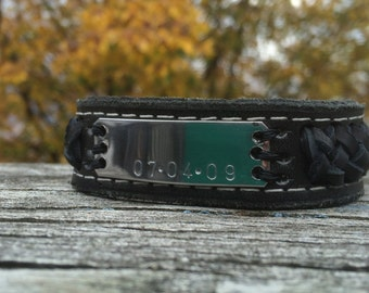Personalized  Husband Gift  / Custom mens leather bracelet / Personalized Leather Bracelet / Mens Jewelry / Leather Jewelry for men