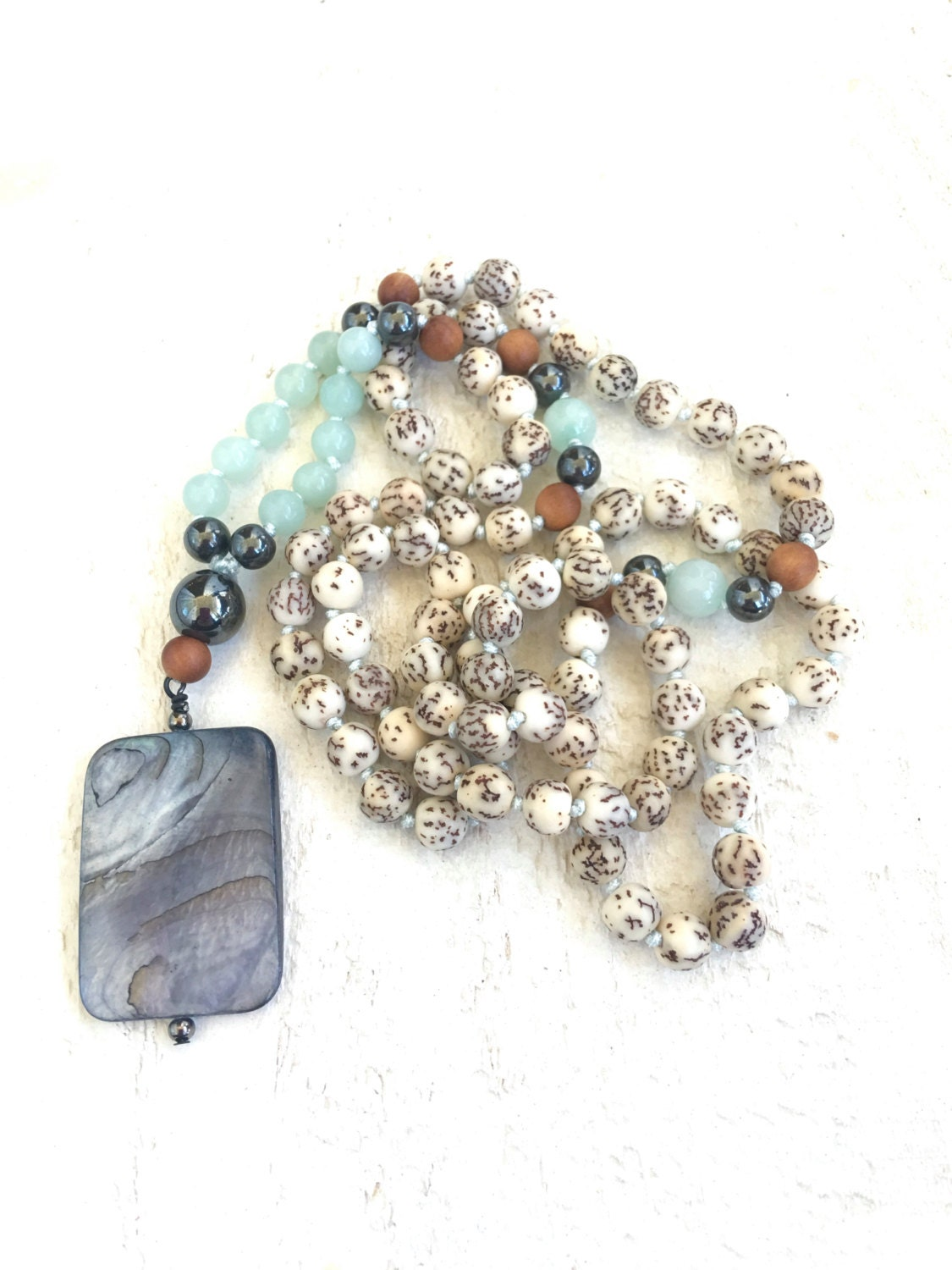 Natural seed mala beads amazonite mala necklace salwag for Natural seeds for jewelry making