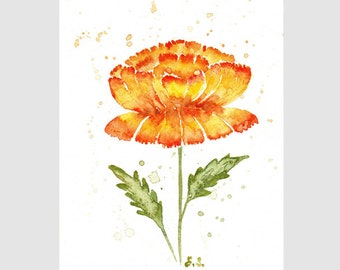 Original watercolor painting Peony flower wall art Floral botanical spring decor Yellow orange red green