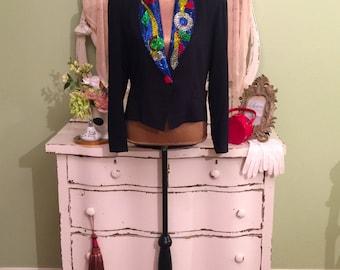 Beaded Tux Jacket, Black Coat & Tails, Ladies Formal Jacket, M/ML, Womens Evening Jacket, Concert Jacket w Beaded Collar, Artsy Opera Jacket