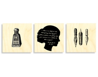 Prints on Wood, Book lovers gift, Literary gift, wall art, art print, Gifts for writers