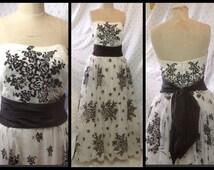 Stunning vintage 1950's show stopper white chiffon floral velvet flocked full sweep strapless gown/wedding/prom/bombshell tulle dress