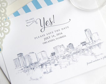 Orlando Save the Dates, Orlando Wedding, Skyline, Disney World Save the Date Cards (set of 25 cards)
