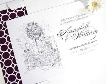 University Of South Carolina Skyline Hand Drawn Save the Date Cards (set of 25 cards)