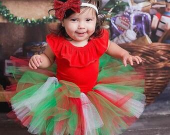 Christmas Tutu, Holiday Tutu, Green and Red Tutu, Holiday Glitter Tutu, Baby Tutu, Infant Tutu, Toddler Tutu, Newborn Tutu, Photo Prop