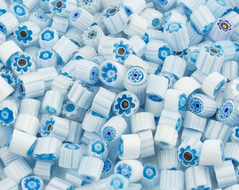 Millefiori Murano White/Blue Tiles (about 170 pieces)
